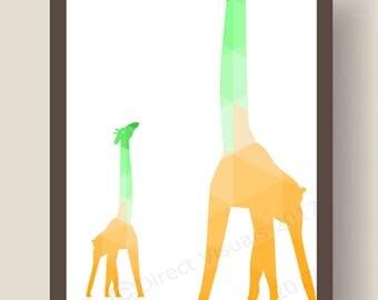 Big Giraffe Small Giraffe Geometric Wall Art Print