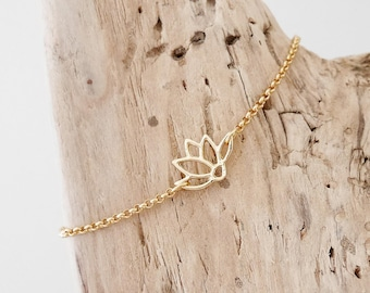 Bohemian chic bracelet thin gold chain and intercalary openwork lotus flower (BRCH10or)