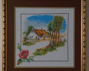 Framed Needle Work Wall Decor Picture  36x36 cm  Spring