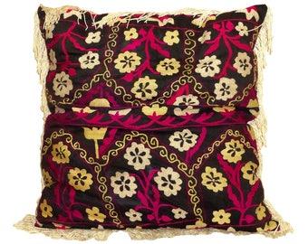 marvelous uzbek silk handmade embroidered suzani large pillow case cushion 710
