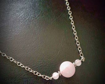 ROSE QUARTZ triple sphere bead-bar necklace. chain/silver/gemstone/love/healing/pagan/wicca/crystal/protection