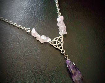 AMETHYST point & ROSE QUARTZ chip triquetra necklace. chain/silver/gemstone/love/healing/pagan/wicca/crystal/protection/celtic trinity knot