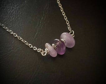 """Mixed AMETHYST gemstone """"nugget"""" bead necklace. chain/silver/healing/pagan/wicca/crystal/protection/handmade/tumble stone/chip"""