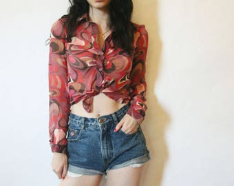 90s Does 70s Silk Button Up Blouse XS