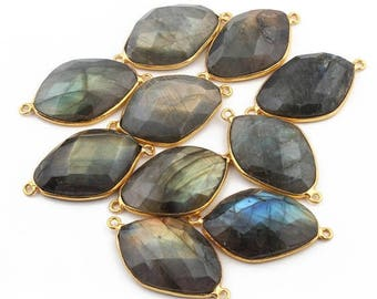 50% off 10 Pcs 24K Gold Plated Flashy Labradorite Gemstone Faceted Diamond Shape Double Bail Connector 30mmx17mm-31mmx17mm PC030