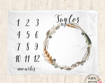 Baby Monthly Milestone Blanket - Feather & Twig Receiving Blanket Photo Prop Baby Milestone Blanket w Nature Wreath - 30x40, 50x60, 60x80