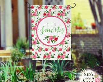 Personalized Garden Flag - Rose Printed Monogram and Custom Yard Flag