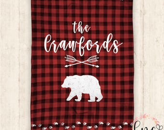 Personalized Baby Blanket - Personalized Blanket - Throw Blanket - Brickyard Buffalo - Bear Baby Blanket - Plaid Pattern -Personalized, Baby