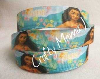 "LAST CUT of Moana, the NEW Disney Princess, on 1"" Grosgrain Ribbon 10 yards.  Movie of Polynesian teenager."