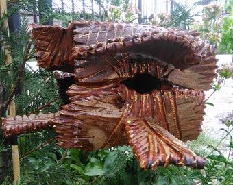 Garden birdhouse, garden art, hand made, rustic birdhouse, natural style, artwork, garden decoration,