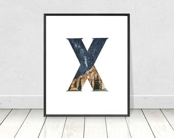 Printable Letter X Alphabet Watercolor Art Print- Wilderness Woodland Nursery Room Decor- ABC Alphabet Camping Art For Nursery Room