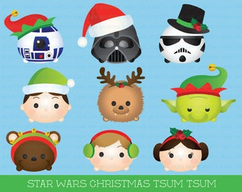 Christmas Tsum tsum clipart, star wars clipart, christmas STAR WARS clipart, tsum tsum christmas clipart, party, christmas, printable