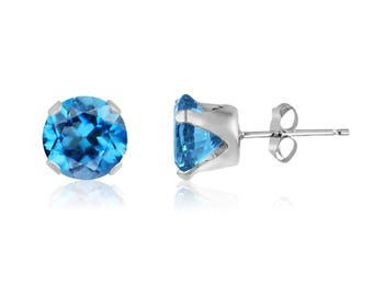 Free shipping Genuine Swiss Blue Topaz .925 Sterling Silver Round Stud Earrings 6mm LARGE