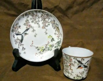 Antique Japanese Handpainted Eggshell Porcelain Demitasse Cup