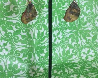 Amber shell teardrop earrings