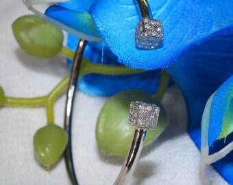 Designer 1. 90 pave diamond sterling silver dice open cuff bracelet - SKU PJ110809F