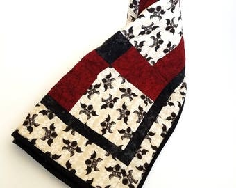 Baby Quilt with Baby Bats with red and black. Goth, punk, or steampunk baby quilt