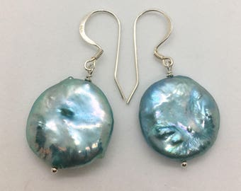 Turquoise Coin Pearl Earrings
