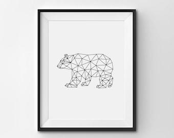 BEAR Wall Art, Bear Print, Origami Bear Art, Modern Nursery Art, Bear Art Print, Printable Bear Poster, Bear Theme Nursery Wall Art