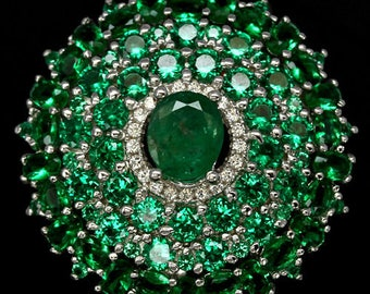 Ring in 925 silver plated white gold Emerald, Diopsides and Zirconium