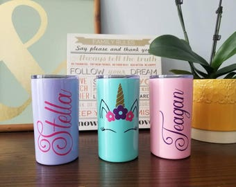 Personalized Stainless Steel Skinny tumbler MINI. Personalized KID cup with straw. Insulated cup with lid and straw.