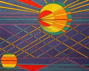 """Abstract, Large Wall Art, Geometric, Eclipse Space Age, Color Ink, Moberg, Planets, Sun, Blue, Satellite,Contemporary, 24""""x18"""", Drawing"""