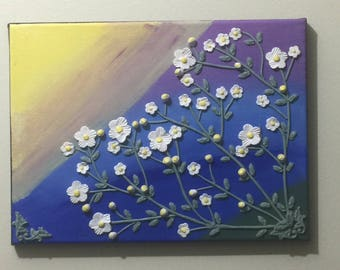 Original abstract dimensional relief art on a stretched canvas. White and yellow flowers handmade from polymer clay.