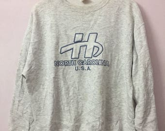 SALE ! Vintage HANES sweatshirt big logo embroidery Size L