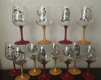 Beauty and the Beast Wine Glass
