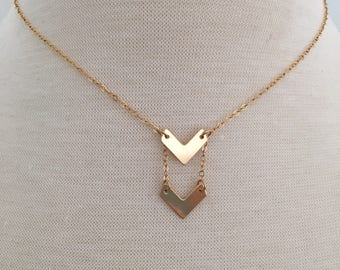 Delicate Gold Arrow Necklace, 14K Gold, Chevron necklace, gift for her, bridesmaid gift