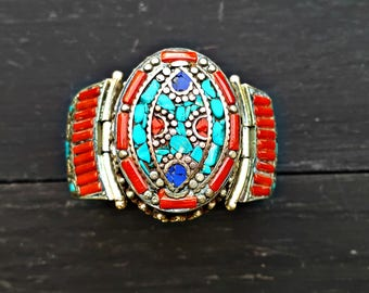 Coral Turquoise Ethnic Nepali Cuff Bracelet
