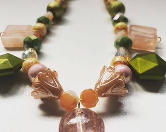 Light Pink and Emerald Green Charm Necklace