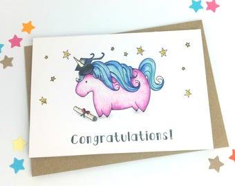 Unicorn Graduation Card   Congratulations Card!   Graduation Card   Finished Exams Card   Passed Exams Card   Diploma Card   Well Done Card