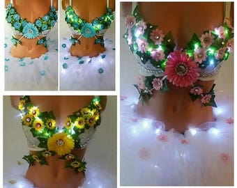 Made to order EDC  floral light up bra plus light up full tutu with flowers