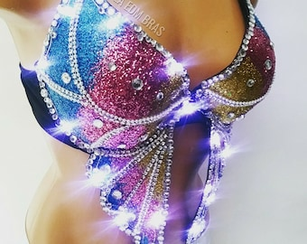 Made to order led light up glitter butterfly rave bra costume top