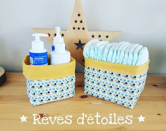 Baskets, baskets, organizers for changing table, geometric mustard layers