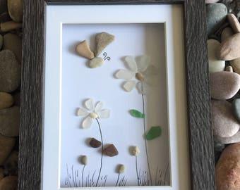 Pebble art - sea glass flowers