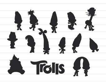 INSTANT DOWNLOAD - Trolls Silhouettes Svg, Trolls Silhouette Cut File, Trolls Clipart, Trolls Clipart, Trolls Cut File, Trolls Svg Cut Files