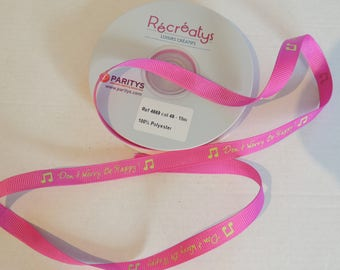 "Pink grosgrain Ribbon ""Don't worry Be happy!"""