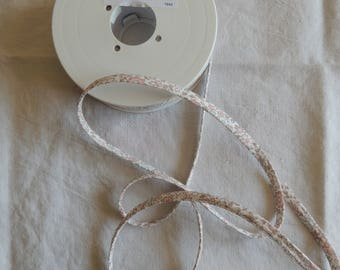 White floral spaghetti Ribbon pink blue and Brown
