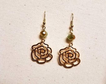 Gold Rose Dangle Earring