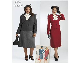 Simplicity 8461 - MISSES / WOMENS Vintage 1940's Skirt, Dickey & Lined Jacket