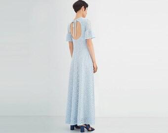 Open back maxi lace dress