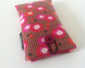 """étui téléphone ou lunettes """"fleurs japonaises"""" en coton enduit rouge/orange/rose"""