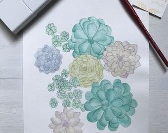 Custom Succulent Watercolor 8x10