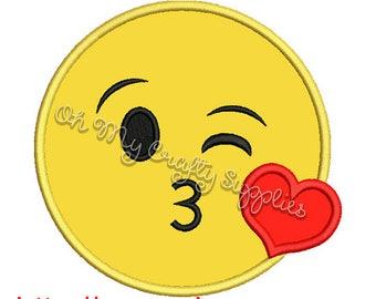 Kiss Face Applique Design