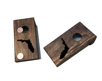 State Table top Cornhole | Quarters Game | Coin Game | Drinking Game | Party Game | Corn Toss Game| Gift for him | State Cornhole