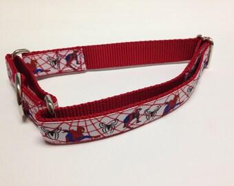 Martingale Dog Collar, Large Red Martingale Collar, Large Spiderman Martingale Dog Collar, Large Adjustable Dog Collar