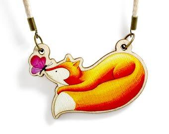 Kids Jewellery Necklace Wooden ***FOX FRIEND***