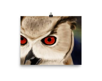Owl close-up original unique digital painting enhanced matte paper poster art print